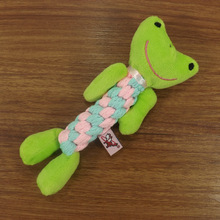 Wholesale plush chew pet toy free sample frog plush dog pet toy with cotton rope