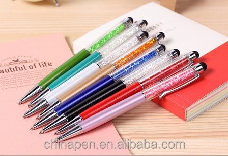 2017 promotional ball pen with led light/oem metal pen with stylus and led torch/metal ball pen torch