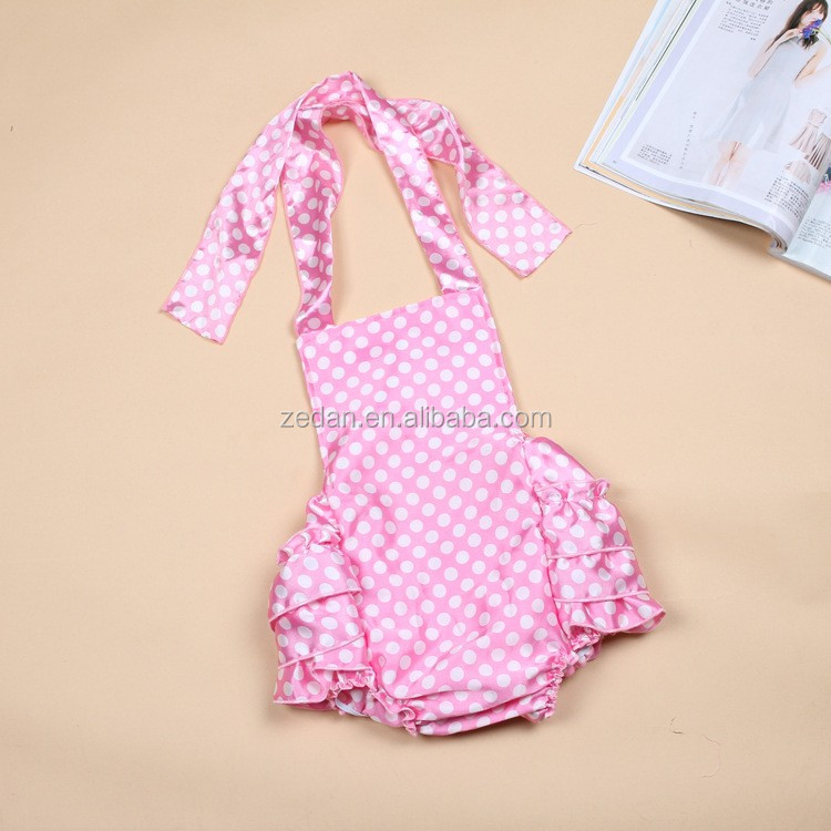 Pink polka dots ruffle romper babies product companies made in China