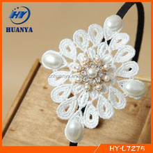Top fashion lace hair band with pearls beads hair accessories