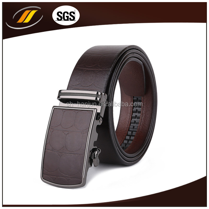 2015 New Design Removable Automatic Buckle Mens Brown Genuine Top Layer Soft Leather Belt