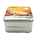 Square OEM cookies food packaging tin box in Fake two layers design