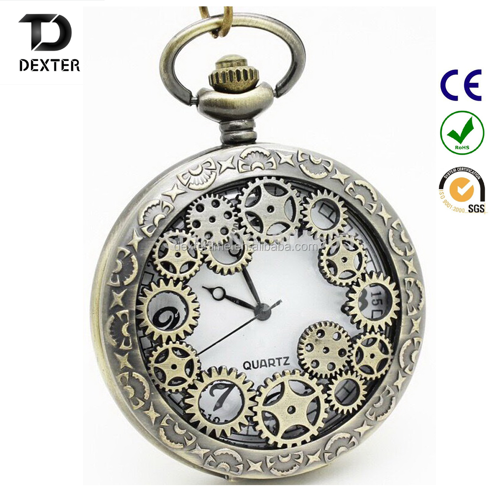 (DH120) 12pcslot wheel gear desgin Necklace Industrial Revolution Quartz Pocket Watch antique pocket watches vintagepocket watch