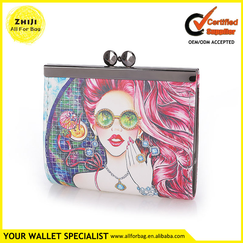 Popular Young Ladies Fashion Leather 2016 New Style Printing Custom Colorful Logo Pattern Printed Wallet Women Short Coin Purse