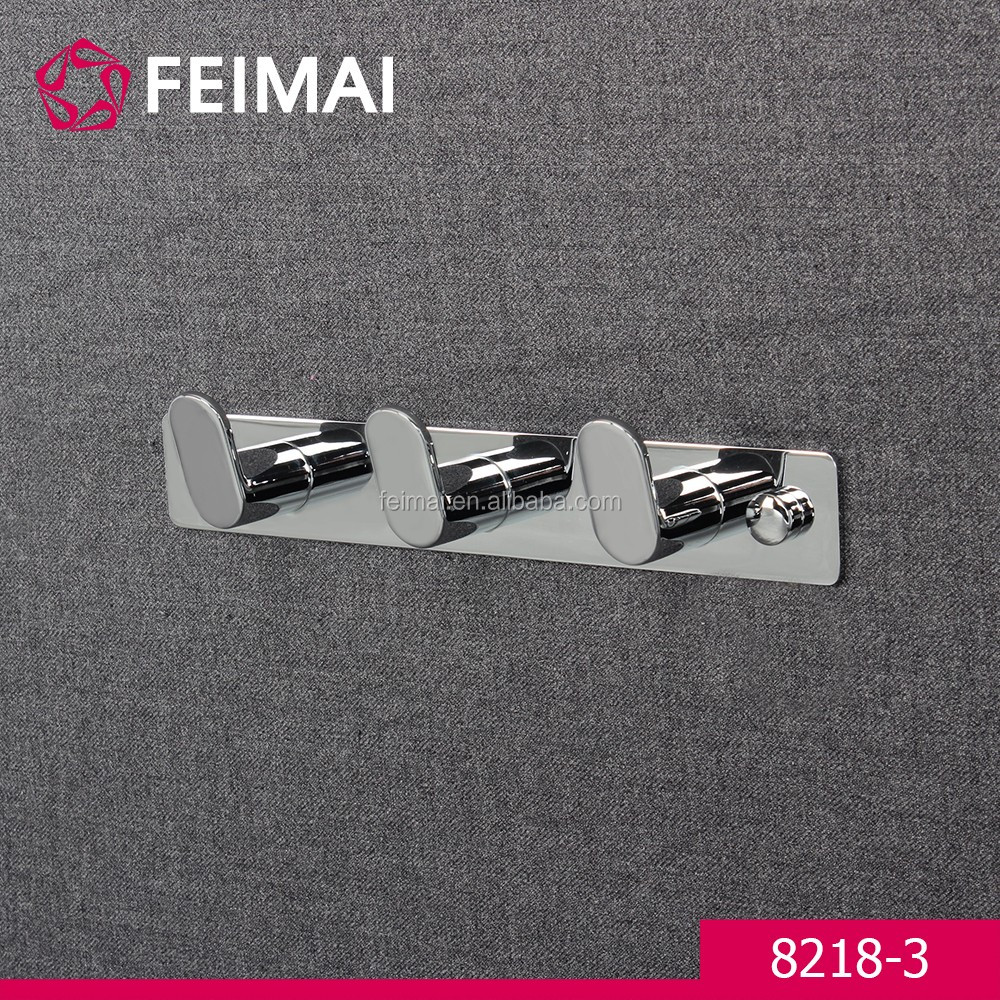 Bathroom Accessories Triple Chrome Zinc Wall Hanger Towel Hooks