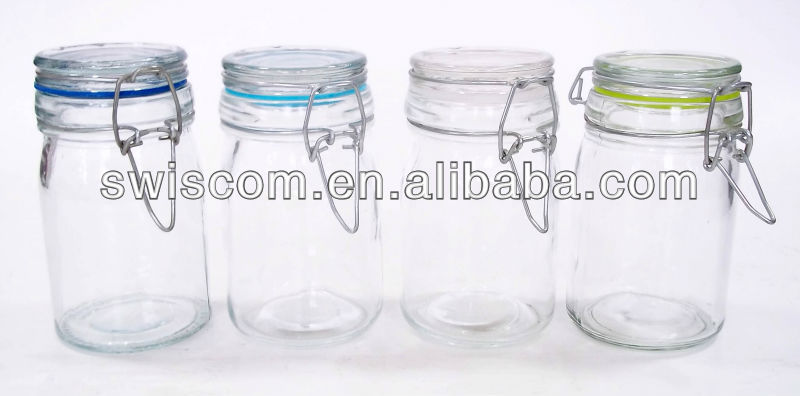 Airtight glass salt&pepper jar with clip SP016-A1