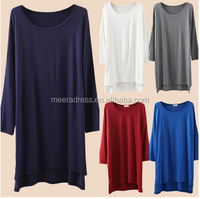 Lady's loose long T-shirt The modal long sleeve T-shirt