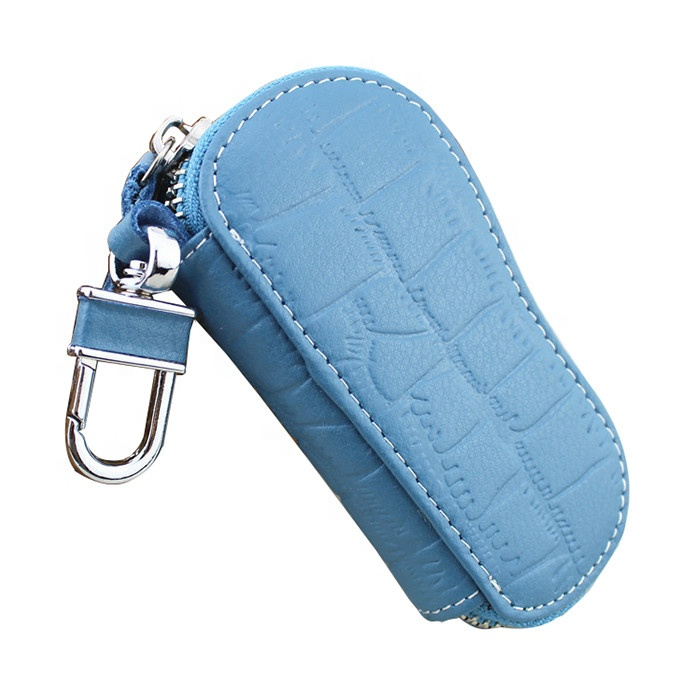 Genuine Leather Compact Car Key Chain Ring Keychain Case Holder Bag Purse Pouch