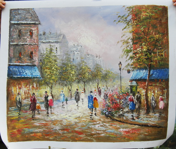 Wall art <strong>Pictures</strong> for living room home decoration Paris Street art canvas oil paintings
