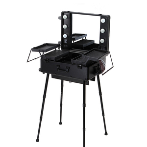 Salon Furniture Portable Professional Rolling Aluminium Trolley Case Studio Makeup Station With Lights