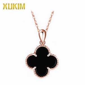 Xukim KSN002 Four Leaf Clover Agate 925 Silver Pendant Necklace Jewelry