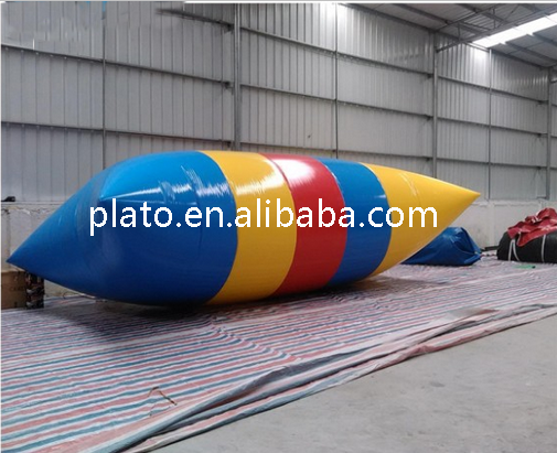 Colorful large lake inflatable body launcher water floating air bag /inflatable water catapult jumping blob for sale