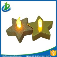 Christmas star shaped metalic battery operated led tea light candle