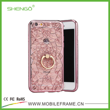 Top Quality Beauty Crystal Flower Luxury Fashion TPU Soft Electroplated Case Covers for i5s