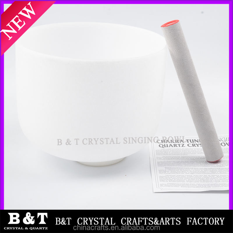 Frosted F Note Heart Chakra Quartz Crystal Singing Bowl 10 inch BNTS-135