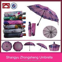 9k custom print design auto open and close windproof 3 fold lady umbrella for rain