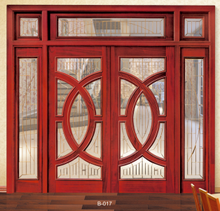 MOSER German style wood door with aluminium cladding, Double Glazed Glass sliding door, with blinds inside