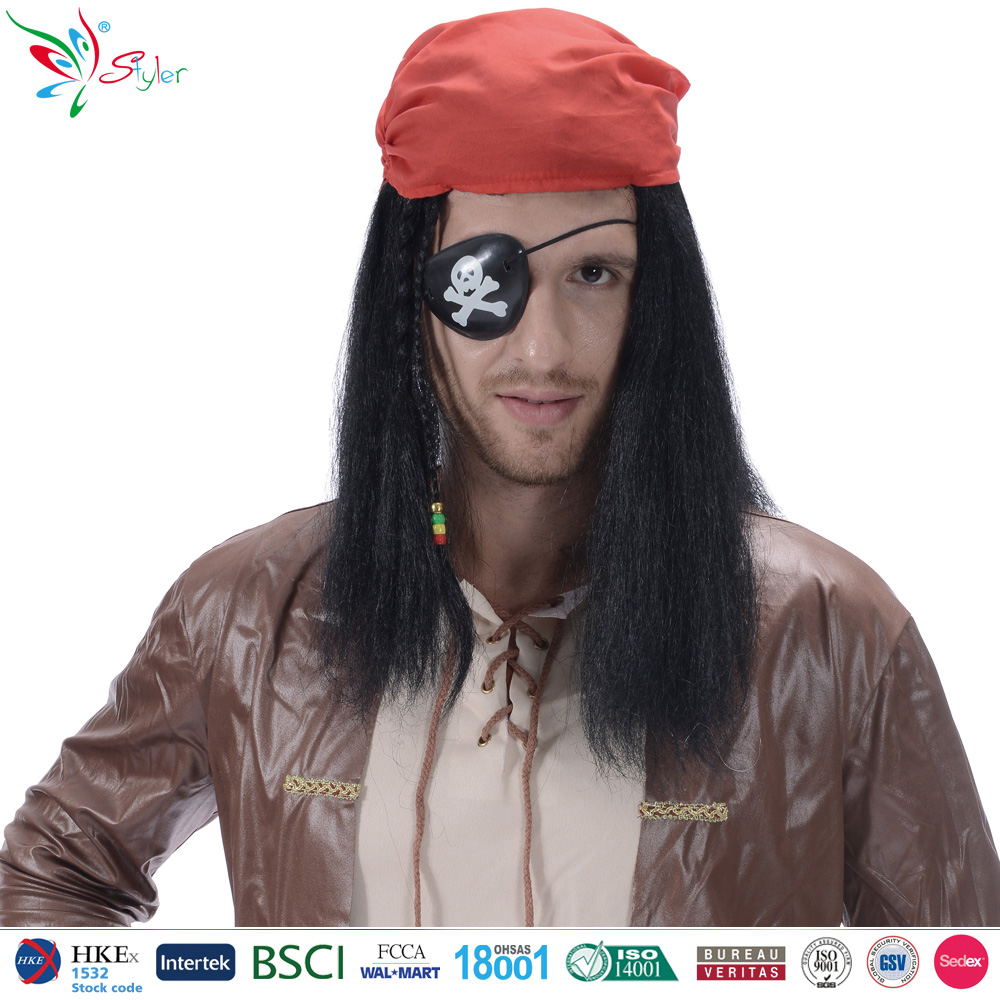 Styler Brand pirates caribbean style kinky hair wigs for black men