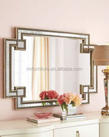 Wooden Beads Venetian Lamp Wall Mirrors Gold Frame