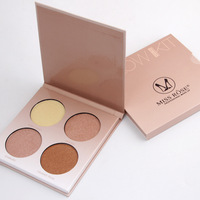 Miss Rose brand makeup golden shade contour glow kit 4 colors brighten bronzer and highlighter shimmer matte face powder