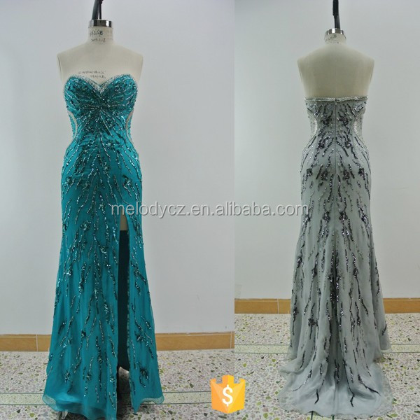 Refinement full heavy beaded strapless slit adults bridesmaid dresses long chiffon