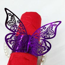 hollow butterfly laser cut paper napkin ring for christmas