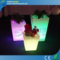 16 colors plastic illuminated flower pot solar led lamps with Light Control Solar Panel Powered
