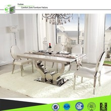 A8035 classic dining table.tempered glass dining table with stainless steel feet