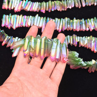 Clear Natural Colorful Aura Rainbow Quartz