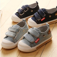 2016 new child denim shoes cotton-made male child shoes baby sneakers1 - 3 years old children canvas shoes