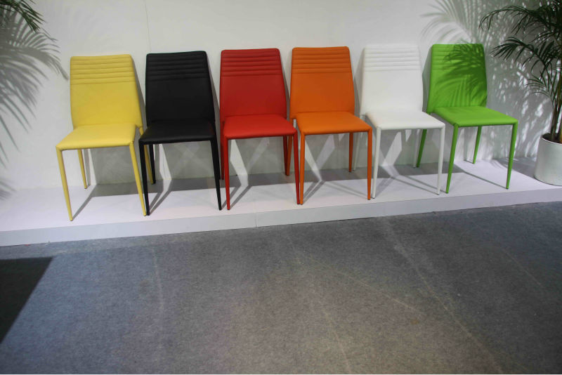 Modern colorful pu leather dining room chairs buy dining for Colorful leather dining chairs