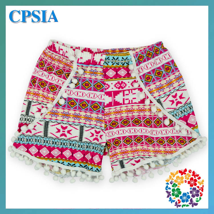 Aztec Print Track Shorts Lace Trim Pom Pom Shorts For Spring Summer