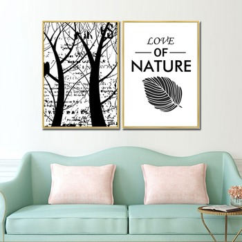 Tree and Letter Modern Canvas print Home Decor
