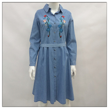 Lizi designs Women fashion denim embroidered quality maxi shirt dress for OEM ODM service