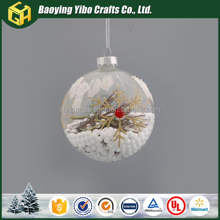 Hand blown clear glass Christmas snow ball
