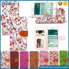 OEM mobile phone case beautiful flower PU leather wallet phone case for iphone 7 plus