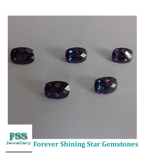 Lab Created Alexandrite Cushion Checkerboard Cut Synthetic Chrysoberyl Stone 8mm*6mm