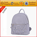women genuine leather backpack school backpack bag with beautiful flower