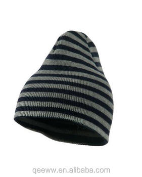 Yhao windproof trendy striped beanie 100% acrylic warm winter hat
