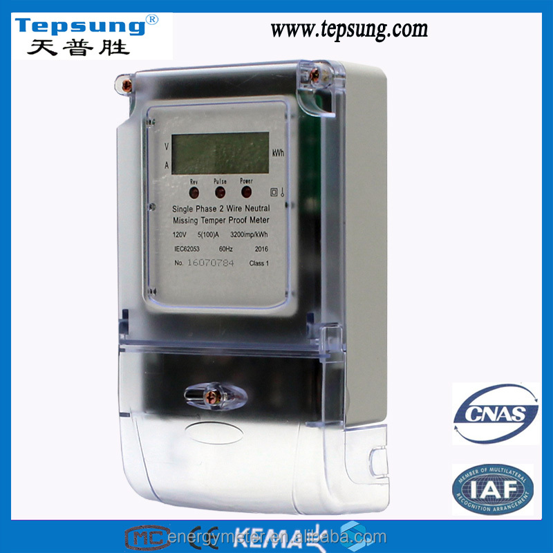 Tamper Detection and Neutral Missing Maximum Demand Watt-hour Meter with Plastic Electric Meter Cover