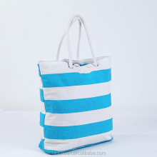Striped Tote Bag with Rope Handles Canvas Beach Bag With Inner