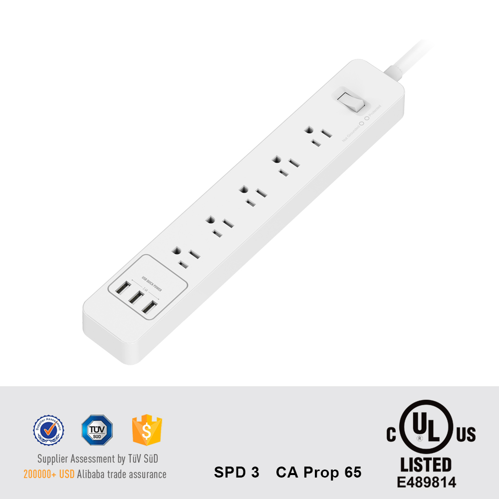UL approved American Power Strip 5 AC Outlets 3 USB Charging Ports Relocatable Power Tap