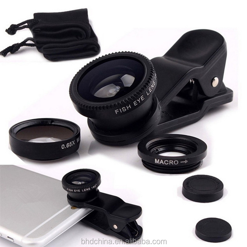 Universal 3in1 Fisheye fish eye Lens + Wide Angle + Macro Mobile Phone Lens Mobile camara lens for iPhone 7 7 plus for all phone