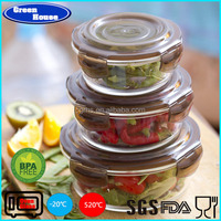 High Borosilicate Glass Round Food Container With Air-tight Cover Ove Use