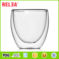 RELEA beautiful shape 88 ml Portable double glass water cup