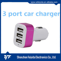 Alibaba hot sale mobile phone accessories triple 3 USB ports auto charger cellphone car charger for Samsung note2