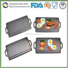 Rectangular Reversible Enamel Cast Iron Grill Plate For Camping and Barbecue