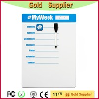 Hot sale blue frameless dry erase magnetic board/weekly notice board