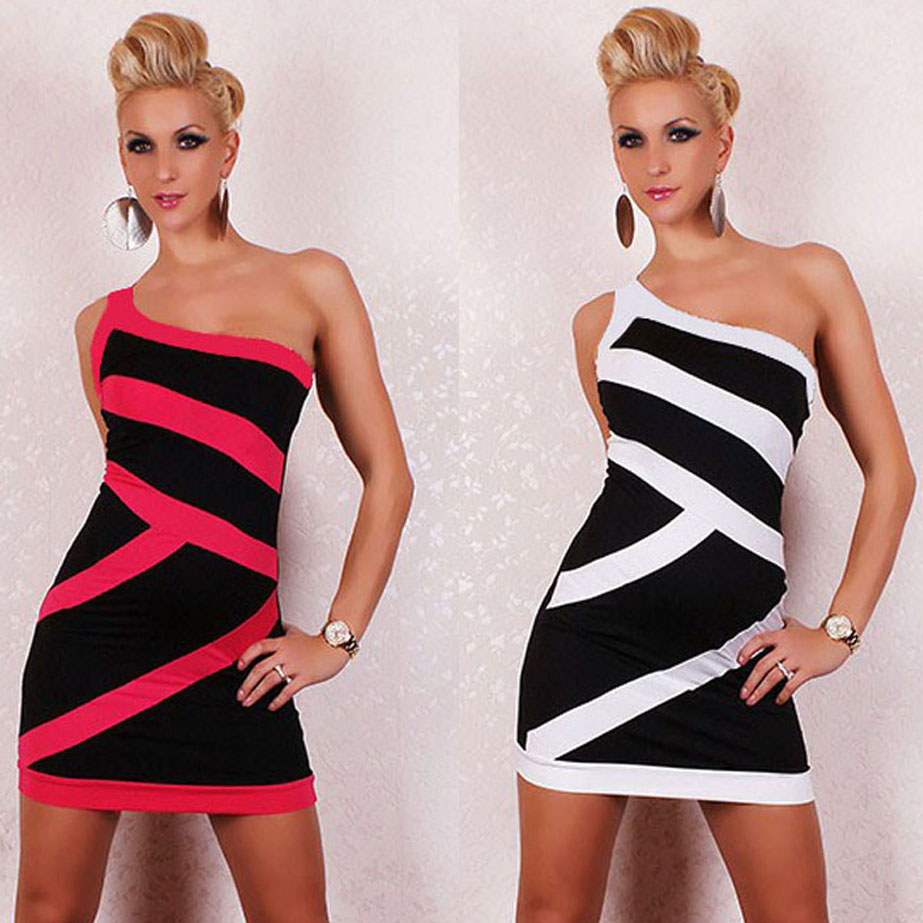 The New 2014 Sleeveless Mini Dress Garment Foreign Trade Clubwear One Shoulder Color Matching Sexy Lingerie