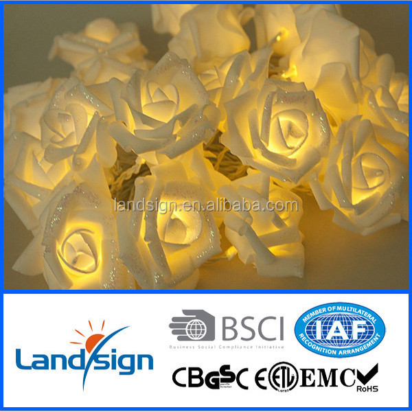 Decorative light solar rose string lights led decoration light for wedding